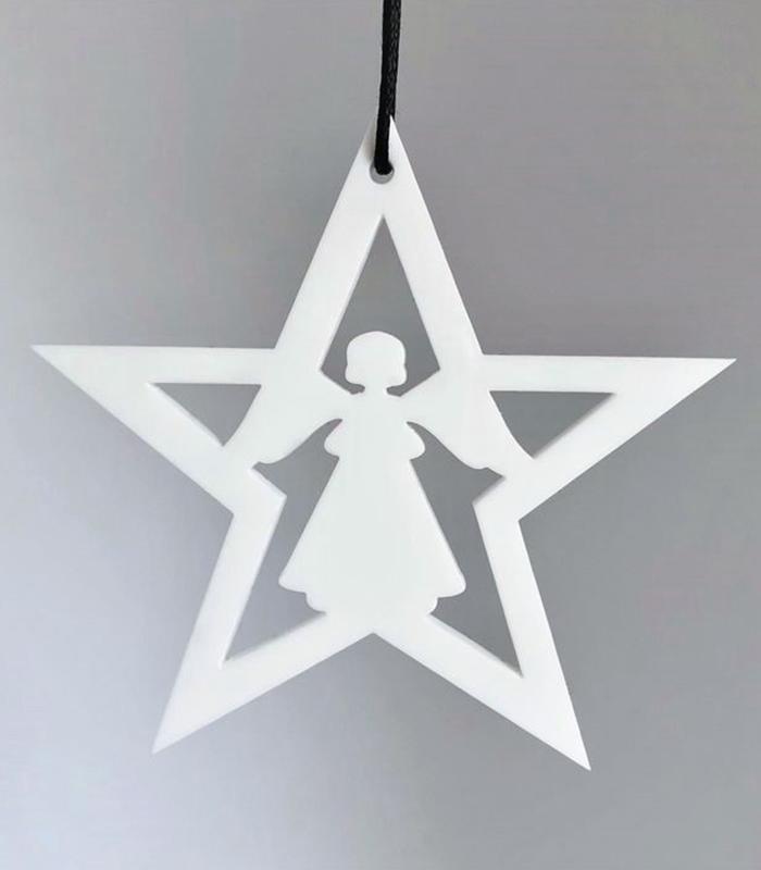 Ryborg Urban Designs stjerne med engel hvid
