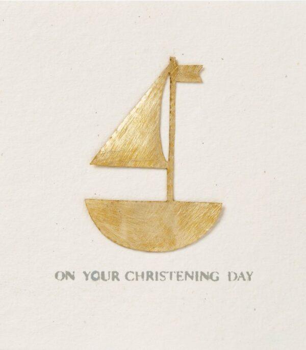 OnlyByGrace Dåbskort dobbeltkort båd i guld