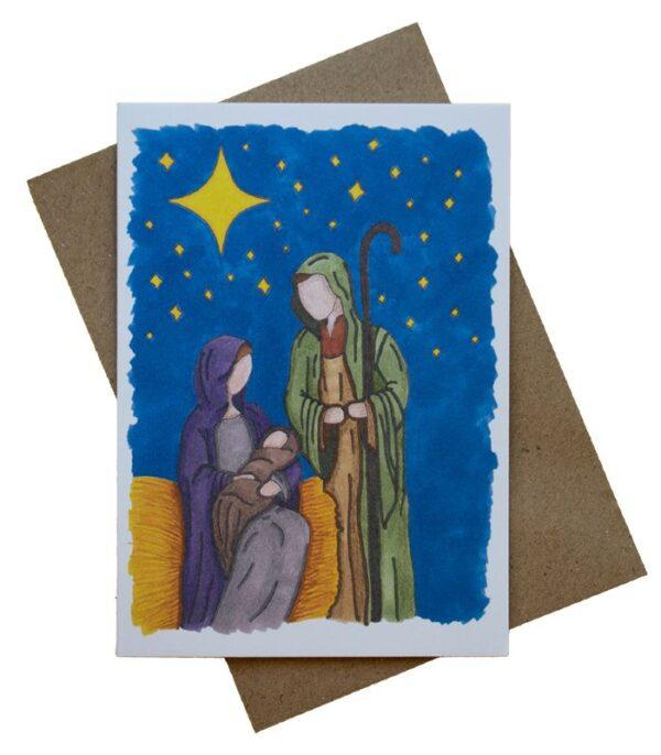 OnlyByGrace Mette Mains Maria Josef og Jesusbarnet dobbeltkort