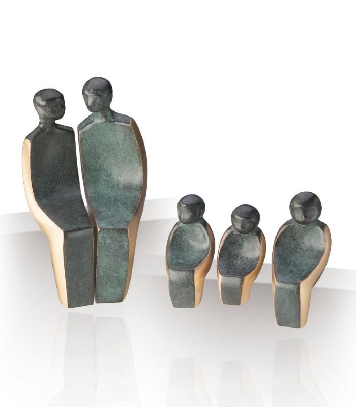 OnlyByGrace Bronzefigur Familie med tre børn