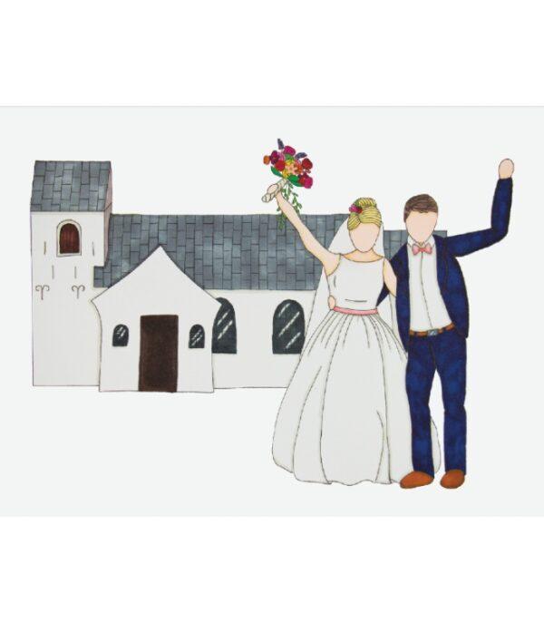 OnlyByGrace Bryllupskort med brudepar foran kirke