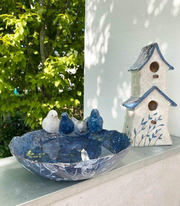 OnlyByGrace Fuglebad med fugle blå