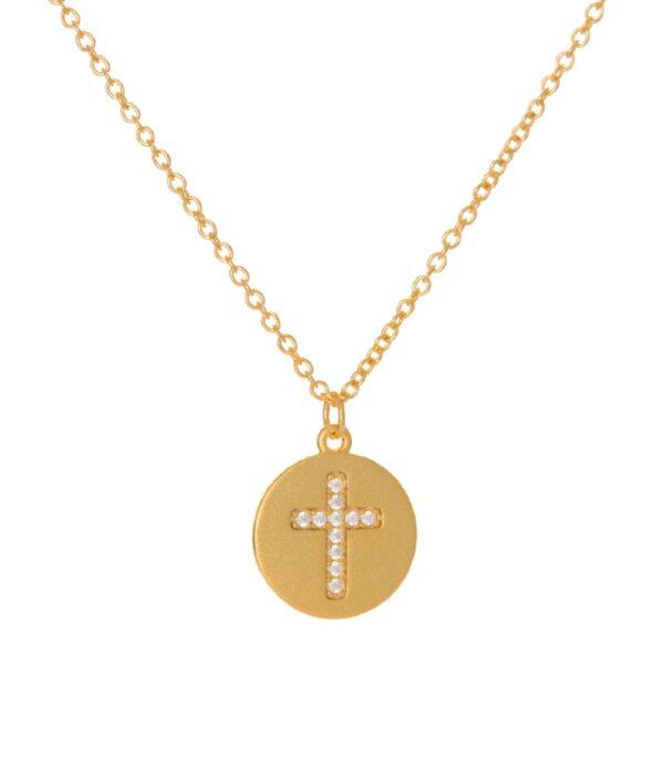OnlyByGrace Kors medaljon guld