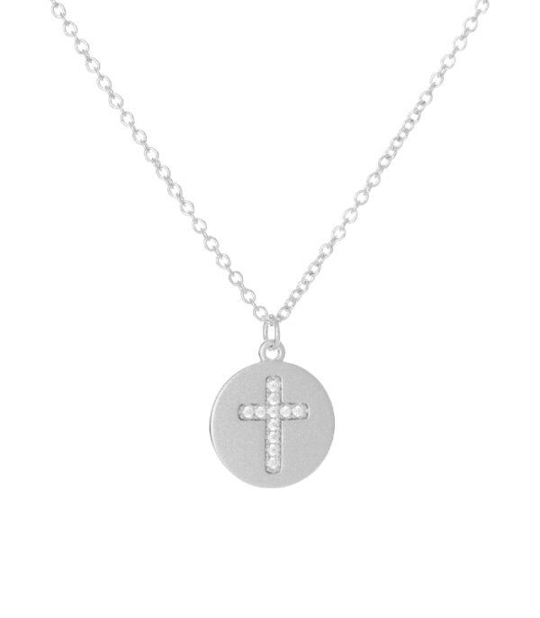 OnlyByGrace Kors medaljon sølv