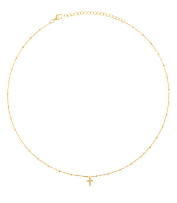 OnlyByGrace Kuglehalskæde med kors guld