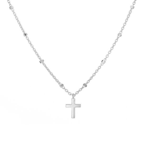 OnlyByGrace-Kuglehalskæde med kors sølv