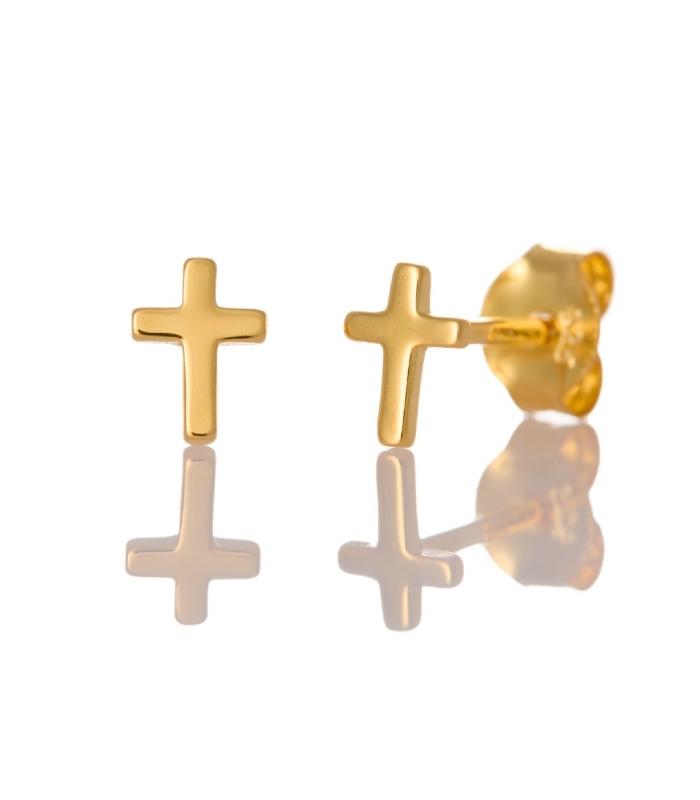 OnlyByGrace Ørestikker enkel kors guld