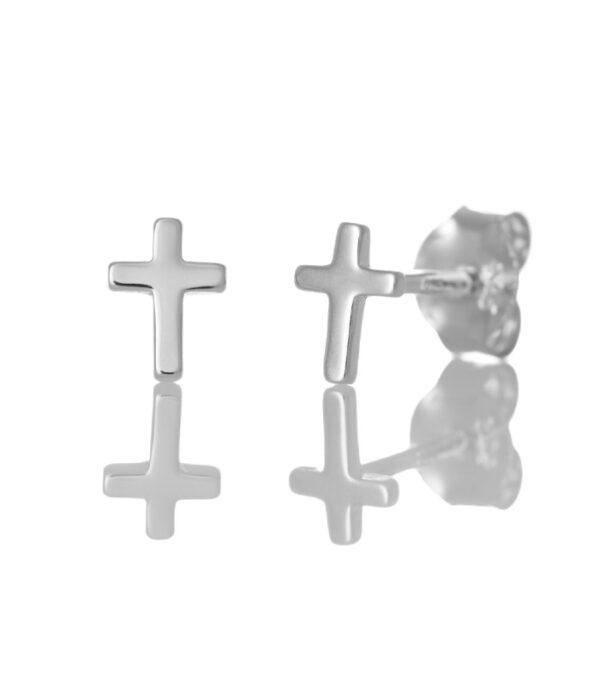OnlyByGrace Ørestikker enkel kors sølv